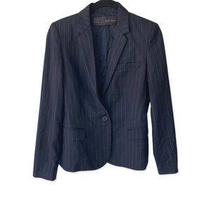Zara Basic Navy Blue Pinstripe Blazer